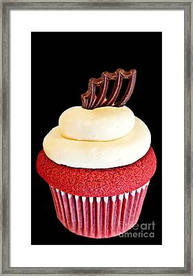 Red Velvet Cupcake On Black Framed Print