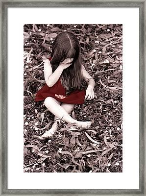 Red Velvet Dress Framed Print