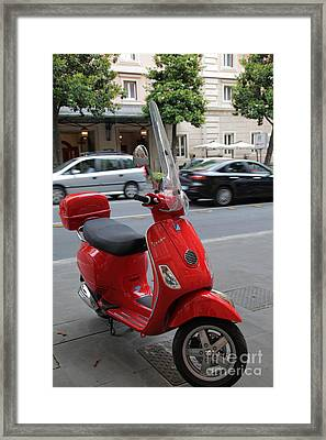 Red Vespa Framed Print by Inge Johnsson