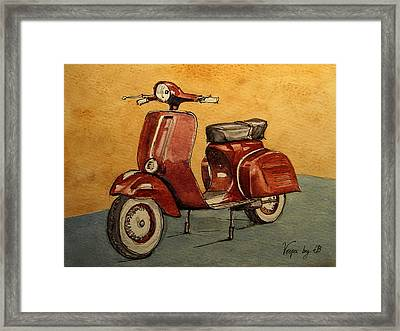 Red Vespa Framed Print by Juan  Bosco