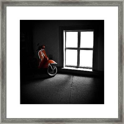 Red Vespa Framed Print