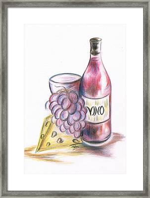 Red Vino Taken With Cheddar Cheese Framed Print by Teresa White