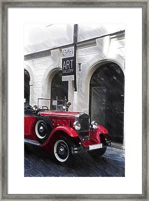 Red Vintage Car Framed Print by Jenny Rainbow