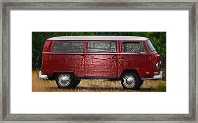 Red Volkswagon Microbus Framed Print