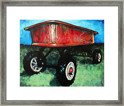 Red Wagon Framed Print by Arleana Holtzmann