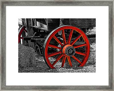 Red Wagon Wheel Framed Print by Jack Zulli