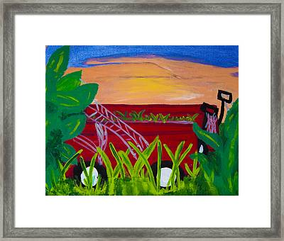 Red Wagons Framed Print by Melissa Dawn