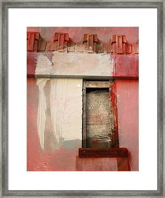 Framed Print featuring the painting Red Wall by John Fish