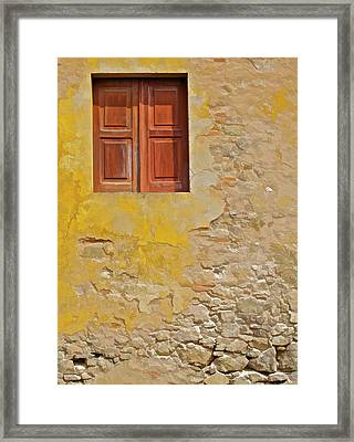Red Weathered Wood Window Of The Medieval Village Of Obidos Framed Print by David Letts