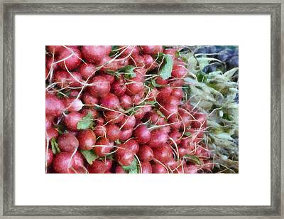 Red White And Blue At The Market Framed Print
