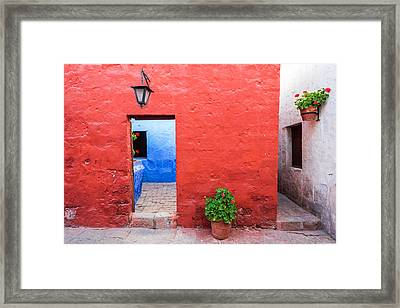 Red White And Blue Colonial Architecture Framed Print by Jess Kraft