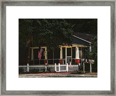 Framed Print featuring the photograph Red White And Blue Cottage by Laura Ragland