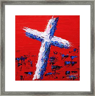 Red White And Blue Cross Framed Print
