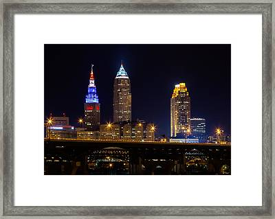 Red White And Blue In Cleveland Framed Print by Dale Kincaid