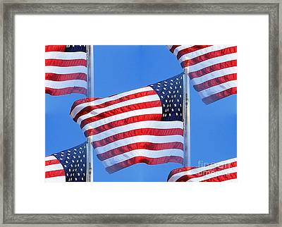 Red White And Blue Framed Print by Judy Palkimas