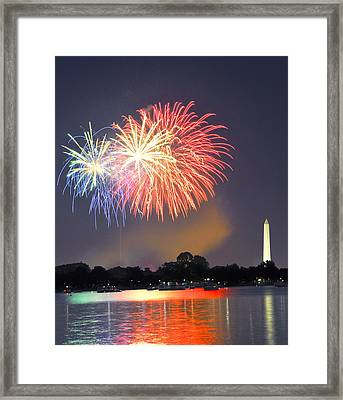 Red White And Blue Over The Potomac Framed Print