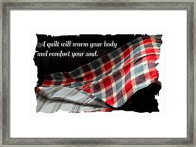 Red White And Blue Quilt With Quote Framed Print by Barbara Griffin
