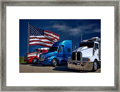 Red White And Blue Semi Trucks Framed Print by Tim McCullough