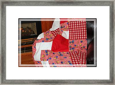Red White And Gingham With Flowery Blocks Patchwork Quilt Framed Print