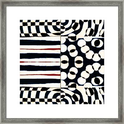Red White Black Number 1 Framed Print by Carol Leigh