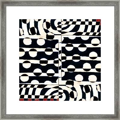 Red White Black Number 3 Framed Print by Carol Leigh