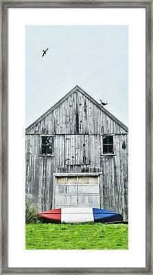 Red White Blue Canoe Framed Print by Diana Angstadt