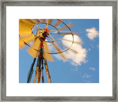 Red Wind Windmill Framed Print