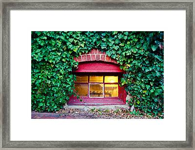 Red Window At The Ivy Corner Black Mountain Nc Framed Print by Mela Luna