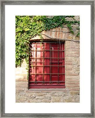 Red Window Framed Print by Carolyn Waissman