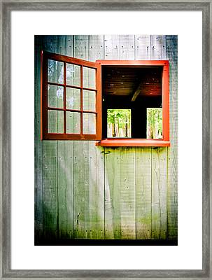 Red Window Framed Print by Colleen Kammerer