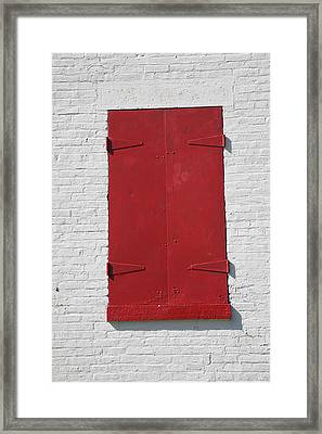 Red Window Framed Print by Frank Romeo