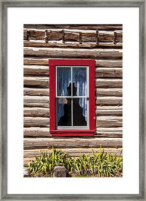 Red Window Log Cabin - Idaho Framed Print by Gary Whitton