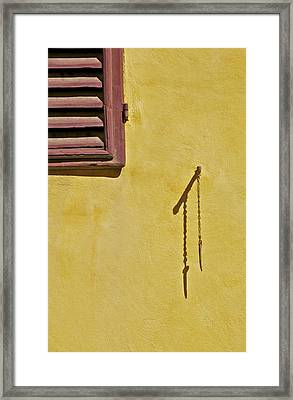 Red Window Shutter Of Tuscany Framed Print
