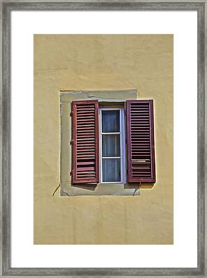 Red Window Shutters Of Florence Framed Print