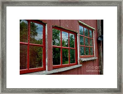 Framed Print featuring the photograph Red Windows Paned by Christiane Hellner-OBrien