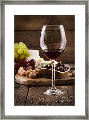 Red Wine And Cheese Framed Print by Mythja  Photography