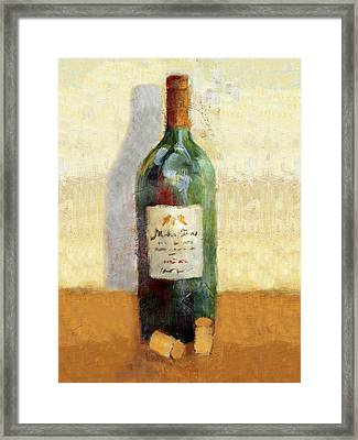 Red Wine And Cork Framed Print