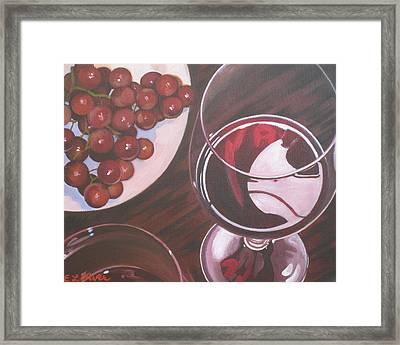 Red Wine And Grapes Framed Print by Elisabeth Olver