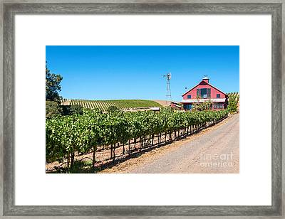 Red Wine Barn - Beautiful View Of Wine Vineyards And A Red Barn In Napa Valley California. Framed Print by Jamie Pham