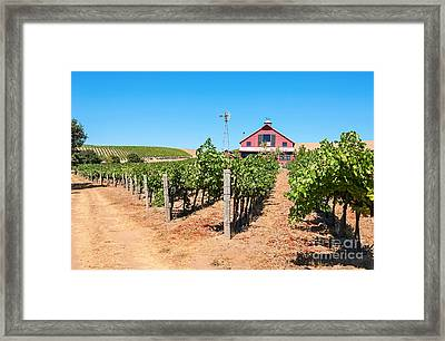 Red Wine Barn - Beautiful View Of Wine Vineyards And A Red Barn In Napa Valley. Framed Print by Jamie Pham