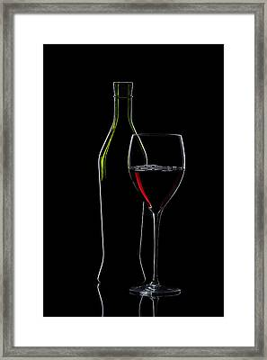 Red Wine Bottle And Wineglass Silhouette Framed Print by Alex Sukonkin