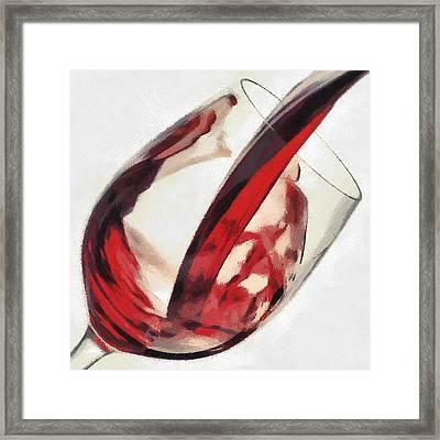 Red Wine  Into Wineglass Splash Framed Print