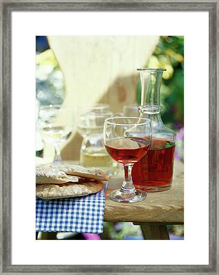 Red Wine In Glass And Carafe, Sch?ttelbrot Beside (s. Tyrol) Framed Print