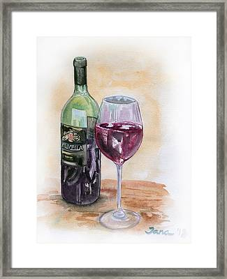 Red Wine Framed Print by Jana Goode