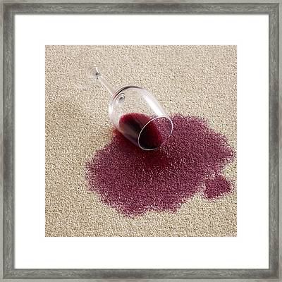Red Wine On Carpet Framed Print by Science Photo Library