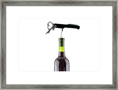Red Wine On White With A Cork Screw Framed Print by Michael Ledray