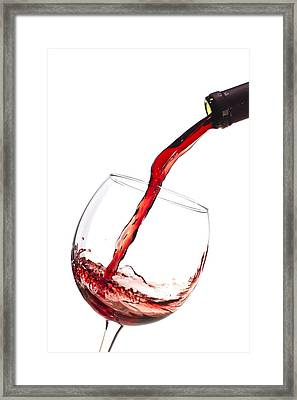 Red Wine Pouring Into Wineglass Splash Framed Print by Dustin K Ryan