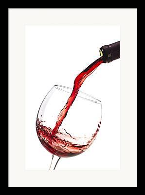 Red Wine Splash Framed Prints
