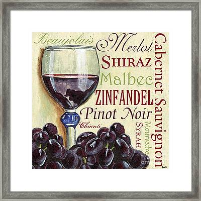 Red Wine Text Framed Print by Debbie DeWitt