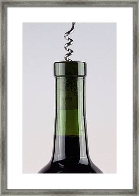 Red Wine With Corkscrew Framed Print by Michael Ledray